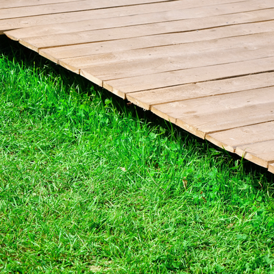 low deck on grass